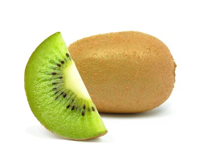 Adesivo kiwi su uno sfondo bianco