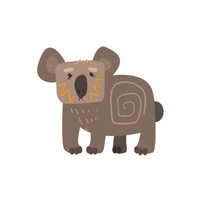 Adesivo Koala Standing piatto Cartoon stilizzata