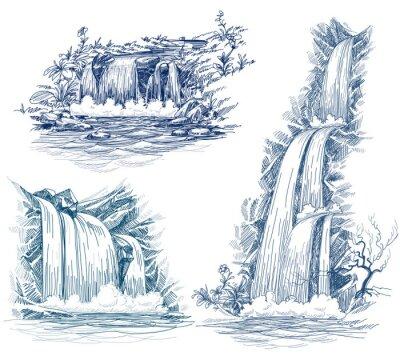 Adesivo L'acqua cade disegno vettoriale
