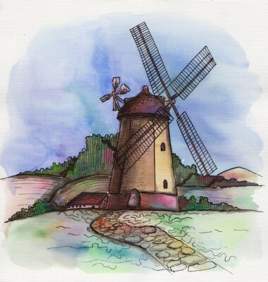 Adesivo l'acquerello disegnato a mano mulino a vento in Olanda