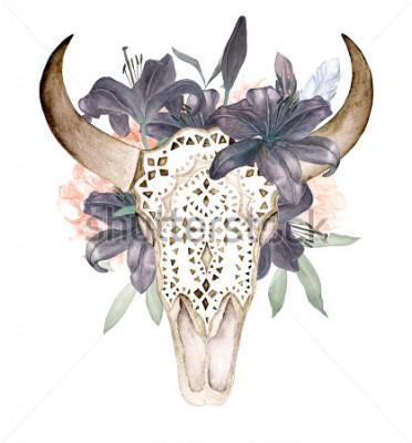 Adesivo L'acquerello ha isolato la testa del toro con i fiori e le piume su fondo bianco. Stili Boho Cranio ornamentale su sfondo nero per confezionamento, carta da parati, t-shirt, tessile, poster, carto