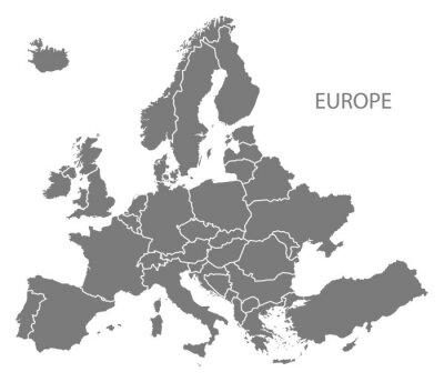 Adesivo L'Europa con i paesi grigio mappa