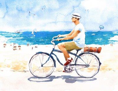 Adesivo L'uomo sulla bici Scena della spiaggia di estate illustrazione dell'acquerello dipinta a mano