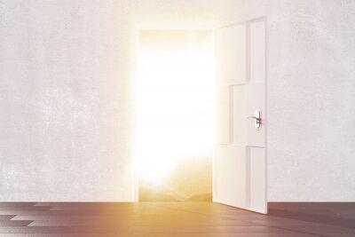 Adesivo La luce intensa dalla porta aperta della stanza vuota