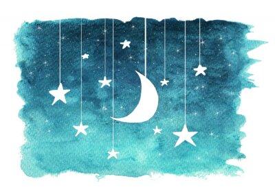 Adesivo La luna e le stelle che pendono dalle stringhe dipinte in acquerello su sfondo bianco isolato, sfondo del cielo notturno