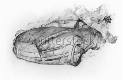 Adesivo La macchina del fumo ha isolato su uno sfondo bianco. Design auto originale