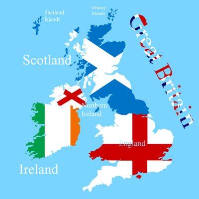 Adesivo La mappa Gran Bretagna per ogni bandiera del paese