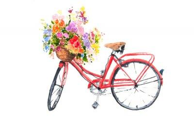 Adesivo La retro bicicletta rossa con la merce nel carrello variopinta dei fiori, l'illustratore dell'acquerello, arte della bici, può essere usata per la decorazione della casa