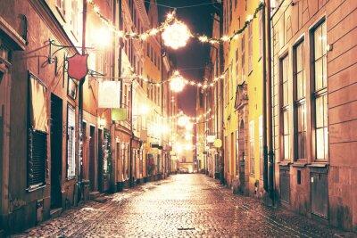 Adesivo La strada di notte a Gamla Stan, Stoccolma.