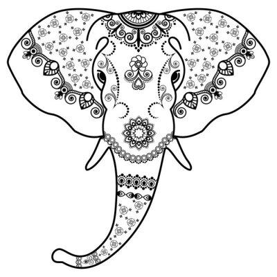 Adesivo La testa di elefante bianco e nero in Mehndi indiano style.Vector illustrazione isolato su sfondo bianco