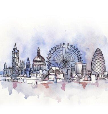 Adesivo la vista panoramica di Londra acquerello di paese dell'Unione europea isolato su sfondo bianco