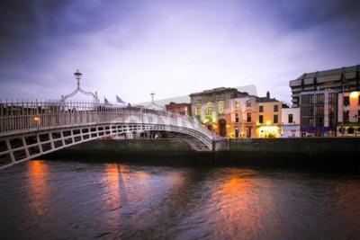 Adesivo Landmark Ha'penny ponte sul fiume Liffey a Dublino