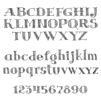 Adesivo lettere alfabeto carattere con tratteggi