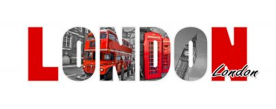 Adesivo Lettere di Londra, isolato su sfondo bianco, viaggi e turismo nel concetto di Regno Unito