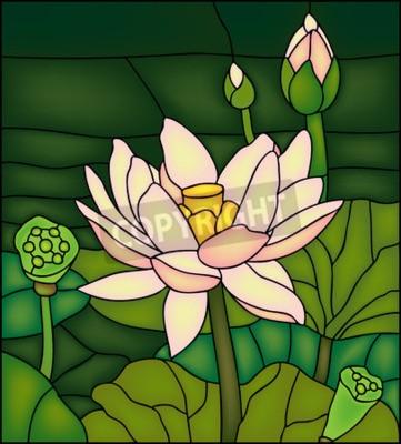 Adesivo Lily nello stagno, vetrate finestra potete
