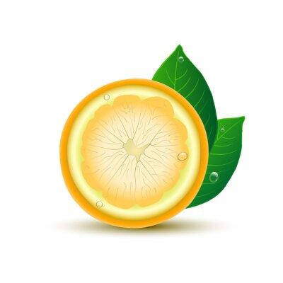 Adesivo limone astratto con foglie e gocce su sfondo bianco