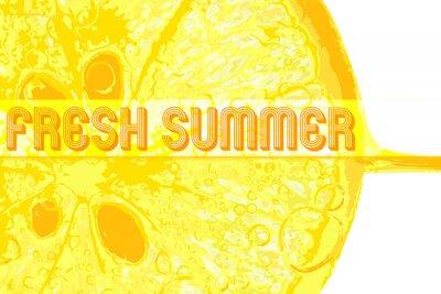 Adesivo Limone fresco con testo fresca estate