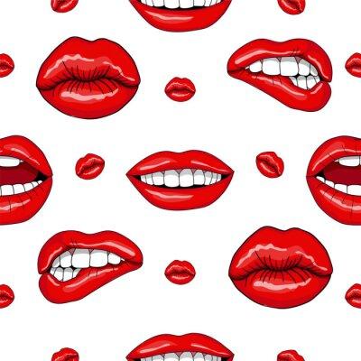 Adesivo Lips seamless in Retro Pop Art Style