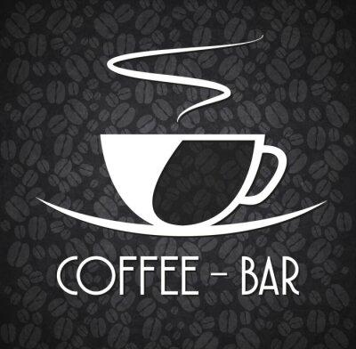 Adesivo Logo minimalista Coffee Bar Bianco e Nero