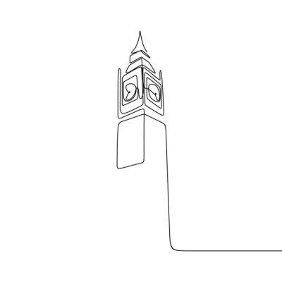 Adesivo London City of Westminster Big Ben clock tower one line drawing minimalist design