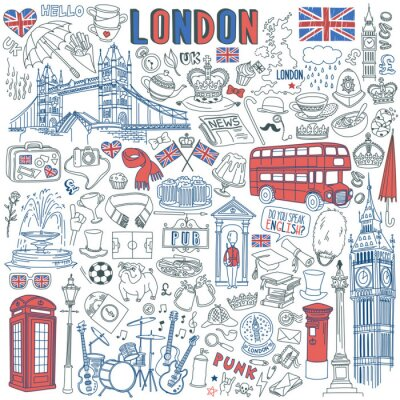 Adesivo London doodle set. Landmarks, architecture and traditional symbols of English culture - Big Ben, Tower Bridge, Royal crown, red telephone box, Union Jack. Vector illustration isolated on background