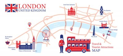 Adesivo London, England Travel and Tourist Attraction Map