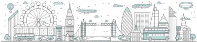 Adesivo London skyline. Line cityscape with building landmarks horizontal panorama. London skyline with Big Ben, Tower Bridge street city sights. Capital city constructions outline, architecture concept