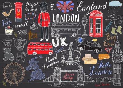 Adesivo Londra doodles città elementi della collezione. Hand drawn set con, il Tower Bridge, corona, il Big Ben, guardia reale, bus rosso, mappa del Regno Unito e la bandiera, teiera, lettering, illustrazione
