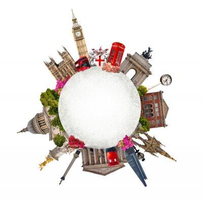 Adesivo Londra. Turismo e collage di affari, edifici famosi di Londra contro sfondo bianco