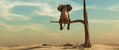 Adesivo Lonely elephant on tree