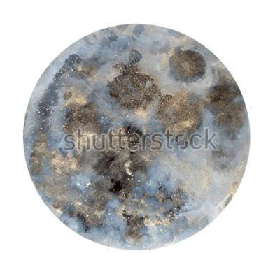 Adesivo Luna. Illustrazione ad acquerello