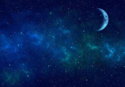 Adesivo Luna, nebulosa e stelle nel cielo notturno. Spazio sullo sfondo.