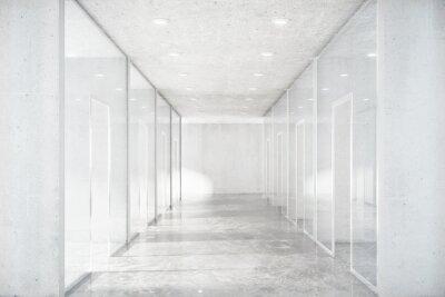 Adesivo Lungo corridoio con pavimento in cemento e pareti trasparenti in Moder