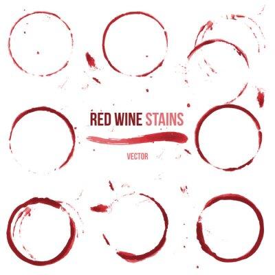 Adesivo Macchie di vino rosso su sfondo bianco