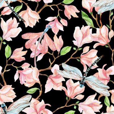 Adesivo magnolia acquarello rami e libellula