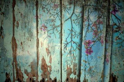 Adesivo Magnolia in primavera vecchio sfondo