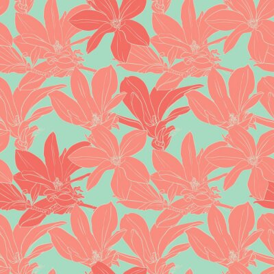 Adesivo Magnolia Vintage fiori seamless pattern.