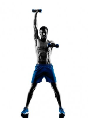 Adesivo man exercising fitness weights silhouette