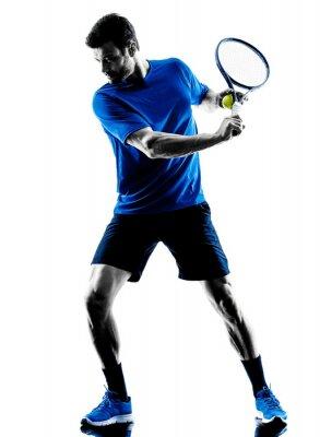 Adesivo man silhouette playing tennis player
