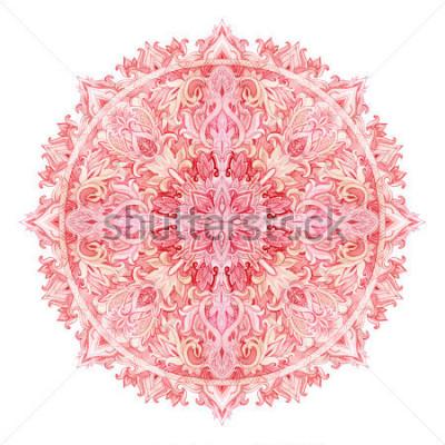 Adesivo Mandala acquerello. Modello disegnato a mano in stile orientale. Motivo ornamentale in pizzo per il design in stile tribale e boho. Pizzo tradizionale isolato su sfondo bianco.