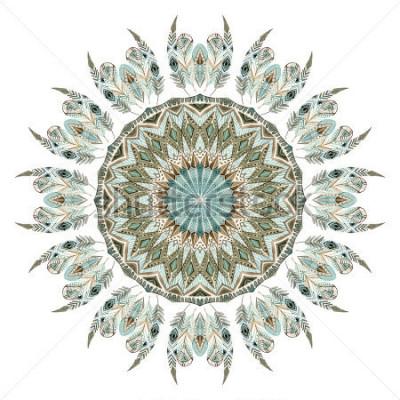 Adesivo Mandala astratta di piume etniche dell'acquerello. Modello di pizzo con piume decorato con elementi geometrici isolati su priorità bassa bianca. Illustrazione dipinta a mano per boho, design tribale