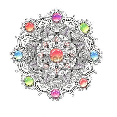 Adesivo Mandala colorato ad acquerello con pietre gioiello. Bellissimo modello rotondo vintage. Disegnata a mano sfondo astratto. Invito, stampa t-shirt, carta di matrimonio. Decorazioni per il tuo design in