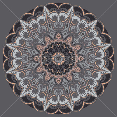 Adesivo Mandala - in gray colors of different shades. Interior in loft style, brutal style. Geometric style, strict lines, interesting fashionable design.