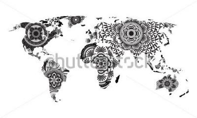 Adesivo Mandala World Map Vector