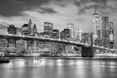 Adesivo Manhattan e Brooklyn Bridge in bianco e nero, New York