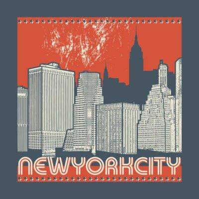Adesivo Manhattan, New York City, illustrazione della siluetta