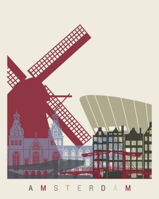 Adesivo manifesto orizzonte Amsterdam