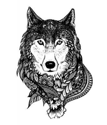 Adesivo Mano illustrazione vettoriale disegnato astratto lupo