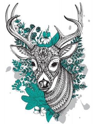 Adesivo Mano vettore tracciato cornuto cervo con dettagli elevati ornamento