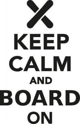 Adesivo Mantenere la calma e bordo sullo snowboard